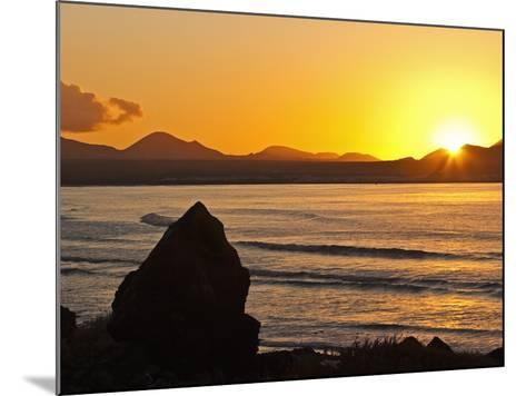 Sunset Over the Bay at Famara, Lanzarote's Finest Surf Beach, Canary Islands-Robert Francis-Mounted Photographic Print