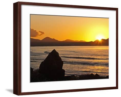 Sunset Over the Bay at Famara, Lanzarote's Finest Surf Beach, Canary Islands-Robert Francis-Framed Art Print