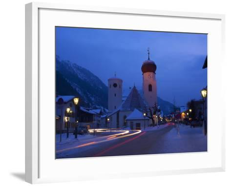 Church in Winter Snow at Dusk, St. Anton Am Arlberg, Austrian Alps, Austria, Europe-Peter Barritt-Framed Art Print