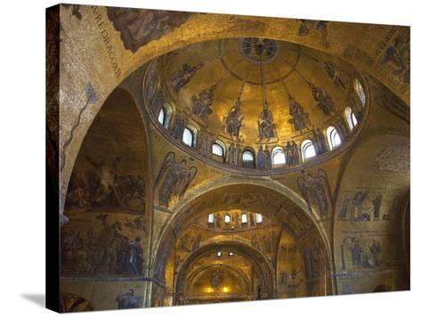 Interior of St. Mark's Basilica with Golden Byzantine Mosaics Illuminated, Venice-Peter Barritt-Stretched Canvas Print