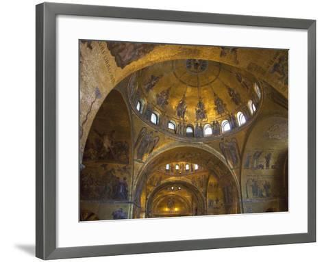 Interior of St. Mark's Basilica with Golden Byzantine Mosaics Illuminated, Venice-Peter Barritt-Framed Art Print