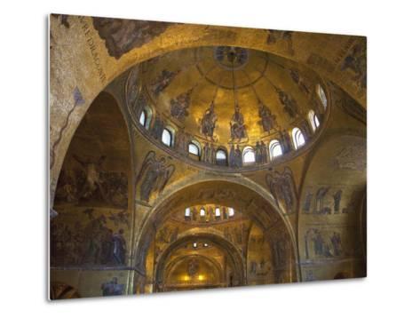 Interior of St. Mark's Basilica with Golden Byzantine Mosaics Illuminated, Venice-Peter Barritt-Metal Print