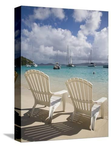 Two Empty Beach Chairs on Sandy Beach on the Island of Jost Van Dyck in the British Virgin Islands-Donald Nausbaum-Stretched Canvas Print