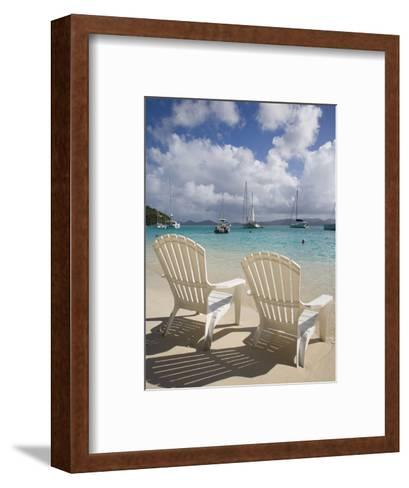 Two Empty Beach Chairs on Sandy Beach on the Island of Jost Van Dyck in the British Virgin Islands-Donald Nausbaum-Framed Art Print