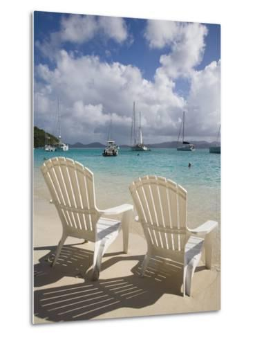 Two Empty Beach Chairs on Sandy Beach on the Island of Jost Van Dyck in the British Virgin Islands-Donald Nausbaum-Metal Print