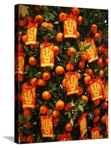 Tangerine Good Luck Symbols, Chinese New Year Decoration, Macao, China, Asia--Stretched Canvas Print