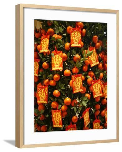 Tangerine Good Luck Symbols, Chinese New Year Decoration, Macao, China, Asia--Framed Art Print