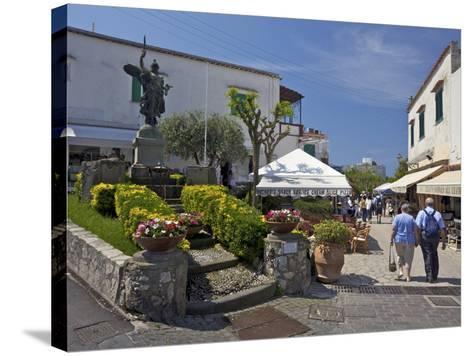 Main Street of Anacapri in Early Morning Summer Sunshine, Isle of Capri, Campania, Italy, Europe-Peter Barritt-Stretched Canvas Print