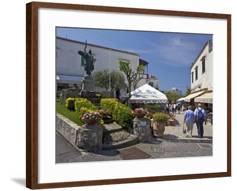 Main Street of Anacapri in Early Morning Summer Sunshine, Isle of Capri, Campania, Italy, Europe-Peter Barritt-Framed Art Print
