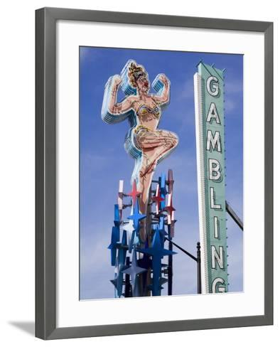 Historic Lucky Lady Neon Sign on Fremont Street, Las Vegas, Nevada-Richard Cummins-Framed Art Print