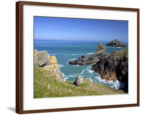 View of the Mouls Off Rumps Point, Pentire Headland, Polzeath, North Cornwall, England, Uk-Peter Barritt-Framed Art Print