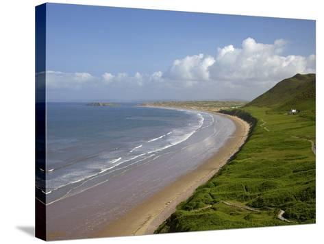Rhossili Beach in Spring Morning Sunshine, Gower Peninsula, County of Swansea, Wales, Uk-Peter Barritt-Stretched Canvas Print