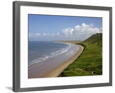 Rhossili Beach in Spring Morning Sunshine, Gower Peninsula, County of Swansea, Wales, Uk-Peter Barritt-Framed Art Print