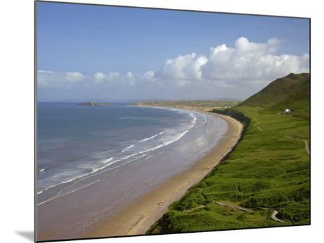 Rhossili Beach in Spring Morning Sunshine, Gower Peninsula, County of Swansea, Wales, Uk-Peter Barritt-Mounted Photographic Print