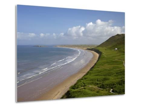 Rhossili Beach in Spring Morning Sunshine, Gower Peninsula, County of Swansea, Wales, Uk-Peter Barritt-Metal Print