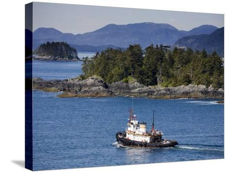 Tugboat in Sitka Sound, Baranof Island, Southeast Alaska, United States of America, North America-Richard Cummins-Stretched Canvas Print