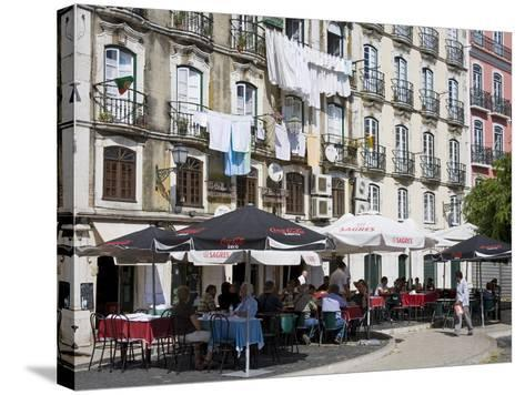 Cafe on Bacalhoeiros Street in the Alfama District, Lisbon, Portugal, Europe-Richard Cummins-Stretched Canvas Print