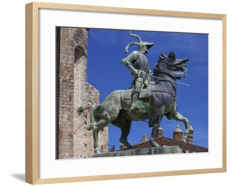 Statue of Francisco Pizarro, Plaza Mayor, Trujillo, Extremadura, Spain, Europe-Jeremy Lightfoot-Framed Art Print