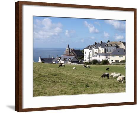 Grazing Sheep, Mortehoe, Devon, England, United Kingdom, Europe-Jeremy Lightfoot-Framed Art Print
