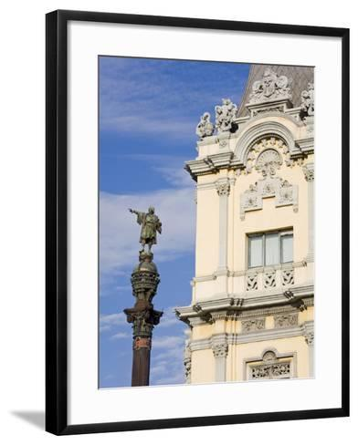 Port Building and Columbus Monument, Port Vell District, Barcelona, Catalonia, Spain, Europe-Richard Cummins-Framed Art Print