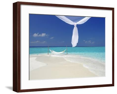 Hammock Hanging in Shallow Clear Water, the Maldives, Indian Ocean, Asia-Sakis Papadopoulos-Framed Art Print