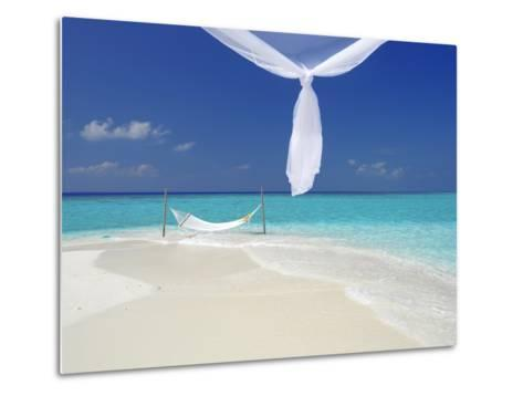 Hammock Hanging in Shallow Clear Water, the Maldives, Indian Ocean, Asia-Sakis Papadopoulos-Metal Print