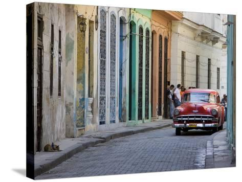 Colourful Street With Traditional Old American Car Parked, Old Havana, Cuba, West Indies, Caribbean-Martin Child-Stretched Canvas Print