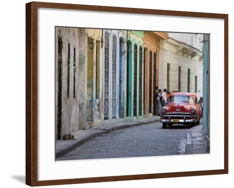 Colourful Street With Traditional Old American Car Parked, Old Havana, Cuba, West Indies, Caribbean-Martin Child-Framed Art Print