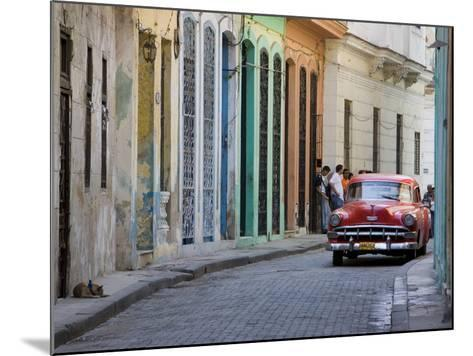 Colourful Street With Traditional Old American Car Parked, Old Havana, Cuba, West Indies, Caribbean-Martin Child-Mounted Photographic Print