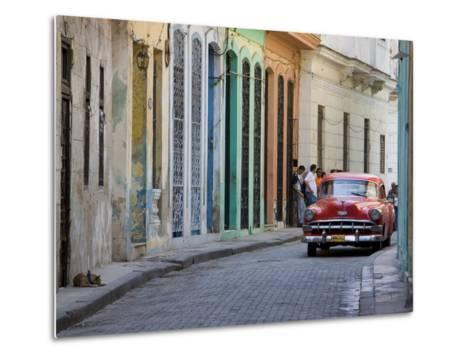 Colourful Street With Traditional Old American Car Parked, Old Havana, Cuba, West Indies, Caribbean-Martin Child-Metal Print