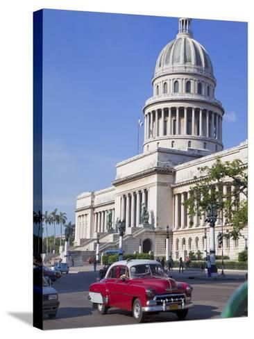 Traditonal Old American Cars Passing the Capitolio Building, Havana, Cuba, West Indies, Caribbean-Martin Child-Stretched Canvas Print