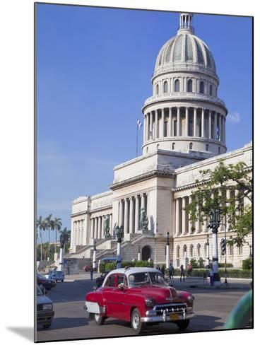 Traditonal Old American Cars Passing the Capitolio Building, Havana, Cuba, West Indies, Caribbean-Martin Child-Mounted Photographic Print