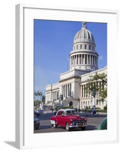 Traditonal Old American Cars Passing the Capitolio Building, Havana, Cuba, West Indies, Caribbean-Martin Child-Framed Art Print