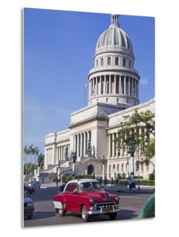 Traditonal Old American Cars Passing the Capitolio Building, Havana, Cuba, West Indies, Caribbean-Martin Child-Metal Print