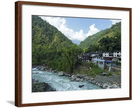 Birethanti Village, and Modi River Valley, Annapurna Sanctuary Region, Himalayas, Nepal, Asia-Peter Barritt-Framed Art Print