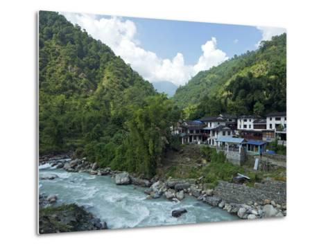 Birethanti Village, and Modi River Valley, Annapurna Sanctuary Region, Himalayas, Nepal, Asia-Peter Barritt-Metal Print