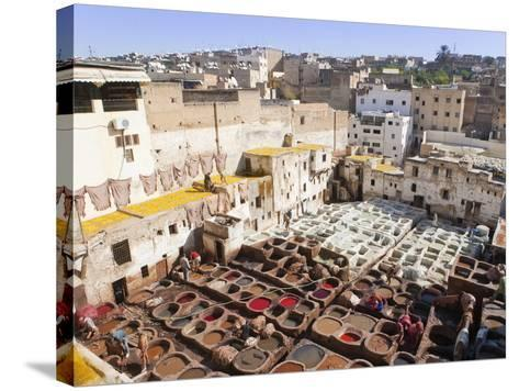 Tannery, Fez, UNESCO World Heritage Site, Morocco, North Africa, Africa-Marco Cristofori-Stretched Canvas Print
