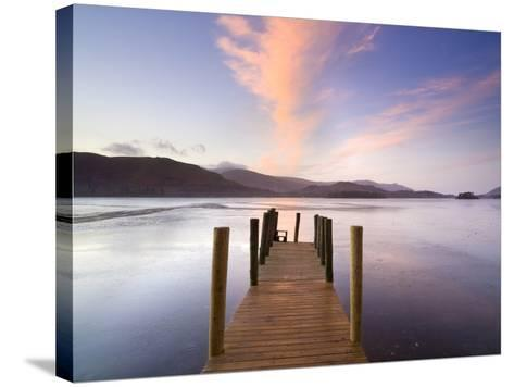 Jetty and Derwentwater at Sunset, Near Keswick, Lake District National Park, Cumbria, England, Uk-Lee Frost-Stretched Canvas Print