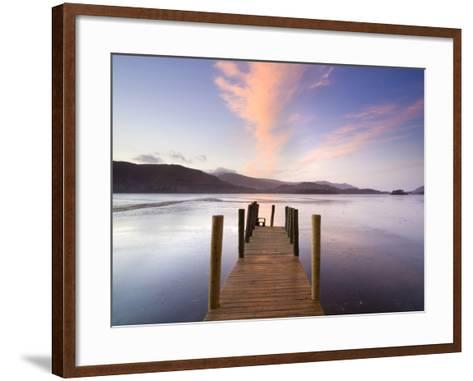 Jetty and Derwentwater at Sunset, Near Keswick, Lake District National Park, Cumbria, England, Uk-Lee Frost-Framed Art Print