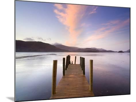 Jetty and Derwentwater at Sunset, Near Keswick, Lake District National Park, Cumbria, England, Uk-Lee Frost-Mounted Photographic Print