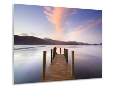 Jetty and Derwentwater at Sunset, Near Keswick, Lake District National Park, Cumbria, England, Uk-Lee Frost-Metal Print