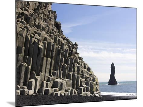 Basalt Cliffs and Rock Stack, Halsenifs Hellir Beach, Near Vik I Myrdal, South Iceland, Iceland-Lee Frost-Mounted Photographic Print