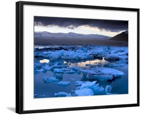 Blue Icebergs Floating on the Jokulsarlon Glacial Lagoon at Sunset, South Iceland, Iceland-Lee Frost-Framed Art Print
