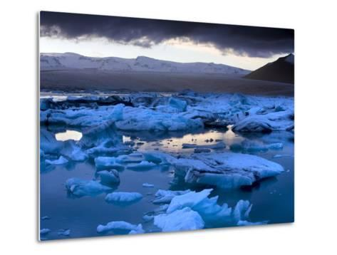 Blue Icebergs Floating on the Jokulsarlon Glacial Lagoon at Sunset, South Iceland, Iceland-Lee Frost-Metal Print