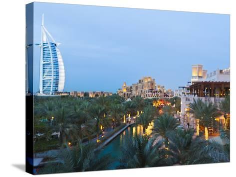 Burj Al Arab and Madinat Jumeirah Hotels at Dusk, Dubai, United Arab Emirates, Middle East-Amanda Hall-Stretched Canvas Print