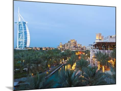 Burj Al Arab and Madinat Jumeirah Hotels at Dusk, Dubai, United Arab Emirates, Middle East-Amanda Hall-Mounted Photographic Print