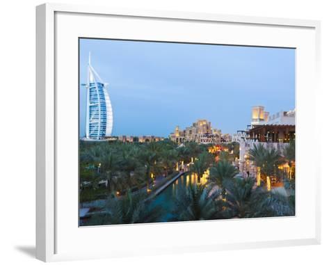 Burj Al Arab and Madinat Jumeirah Hotels at Dusk, Dubai, United Arab Emirates, Middle East-Amanda Hall-Framed Art Print