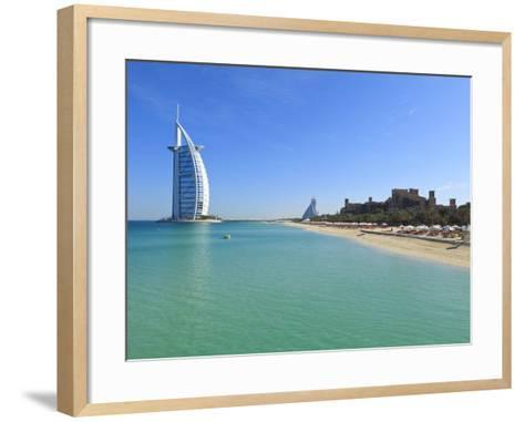 Burj Al Arab Hotel, Jumeirah Beach, Dubai, United Arab Emirates, Middle East-Amanda Hall-Framed Art Print