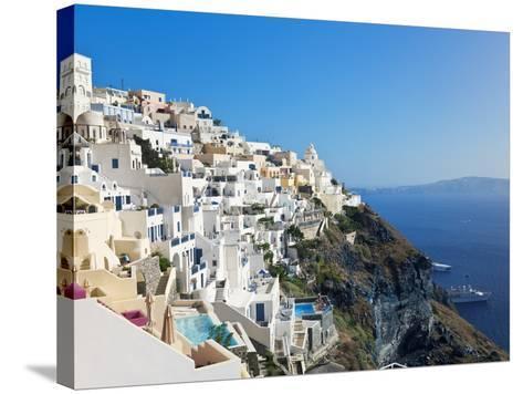 Elevated View of Fira, Santorini (Thira), Cyclades Islands, Aegean Sea, Greek Islands, Greece-Gavin Hellier-Stretched Canvas Print