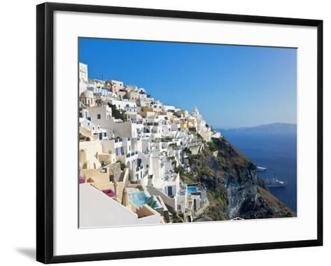 Elevated View of Fira, Santorini (Thira), Cyclades Islands, Aegean Sea, Greek Islands, Greece-Gavin Hellier-Framed Art Print